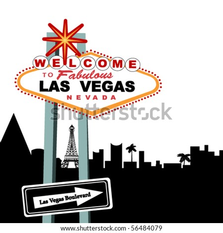 Welcome to Las Vegas Sign (city behind - in pieces for changes) - stock vector