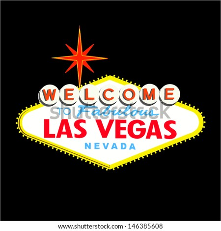 Welcome to Las Vegas Sign on Black - stock vector