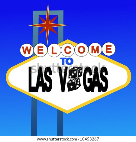 welcome to Las Vegas sign with dice - stock vector