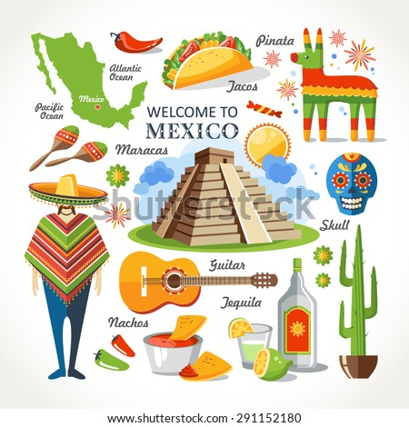 welcome to mexico set - stock vector
