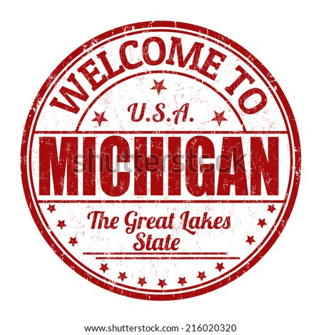 Welcome to Michigan grunge rubber stamp on white background, vector illustration - stock vector