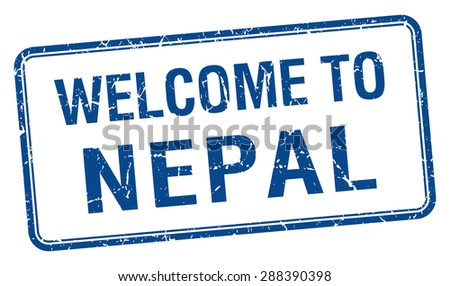 welcome to Nepal blue grunge square stamp