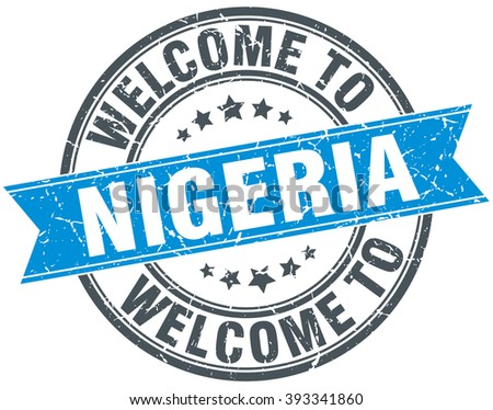 welcome to Nigeria blue round vintage stamp