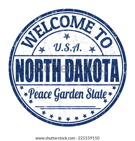 Welcome to North Dakota grunge rubber stamp on white background, vector illustration