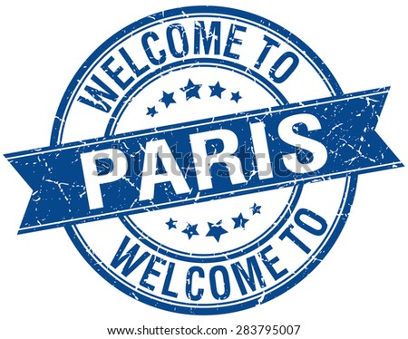 welcome to Paris blue round ribbon stamp