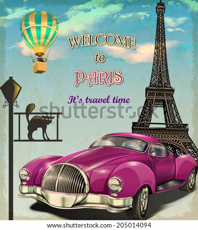 Welcome to Paris retro poster. - stock vector