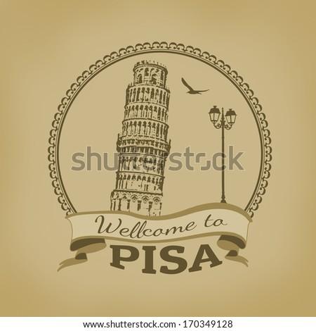 Welcome to Pisa vintage postcard, vector illustration - stock vector