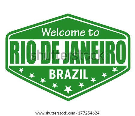 Welcome to Rio de Janeiro travel label or stamp on white, vector illustration