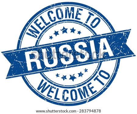 welcome to Russia blue round ribbon stamp