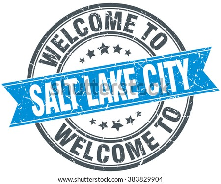 welcome to Salt Lake City blue round vintage stamp - stock vector