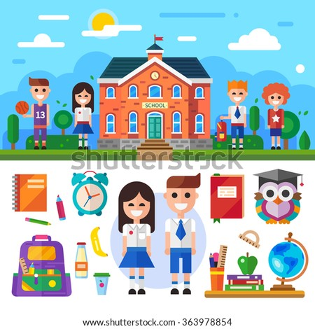Welcome to School! Middle school illustration with isolated items: pupils, students, sporty guy, notebook, backpack, pen and pencil, school stuff, globe, wise owl :) Flat vector illustration set.  - stock vector