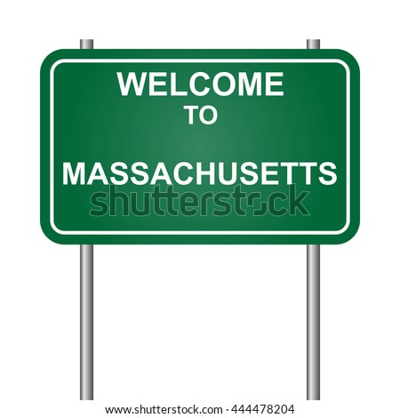 Welcome to State of Massachusetts, green signal vector