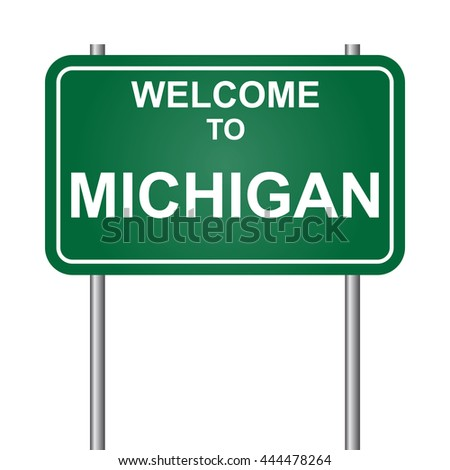 Welcome to State of Michigan, green signal vector
