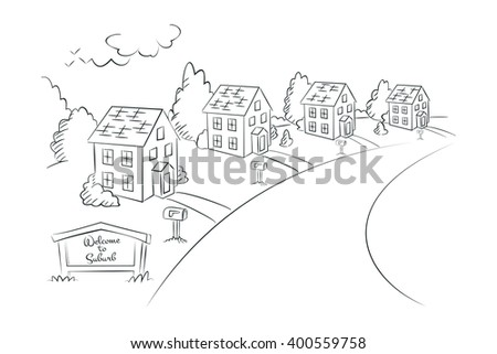 Welcome to Suburb - monochrome linear illustration, suburban street with houses, vector template, faubourg template, purlieus template, house template, commuterville house, real estate illustration - stock vector