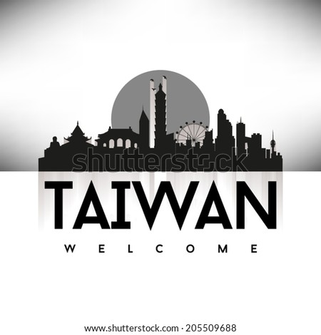 Welcome to Taiwan Black Skyline Silhouette vector illustration, Typographic design. - stock vector