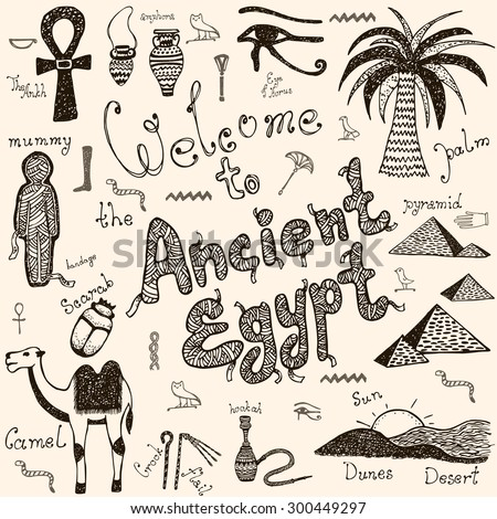 Welcome to the Ancient Egypt doodles hand drawn vector set