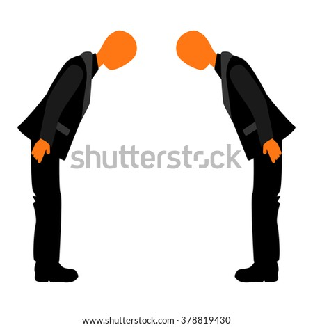 Welcome to the business meeting. Japanese bow at a business meeting. Business etiquette. National Business Etiquette. - stock vector