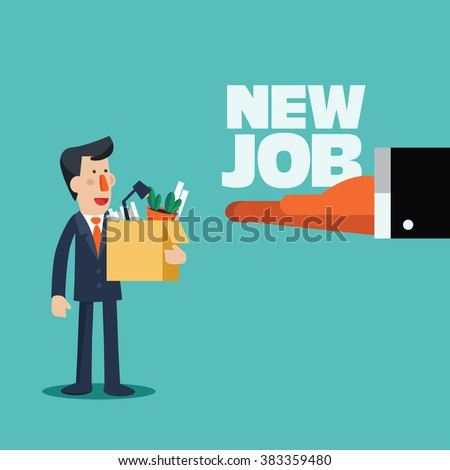 Welcome to the new job vector business concept. Boss offering a new job to employee. Successful smiling young business man holding a box with his things. Start and time for a new job illustration - stock vector