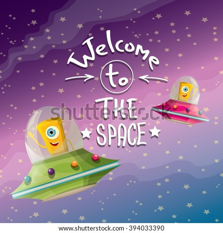 welcome to the space concept vector illustration.  - stock vector