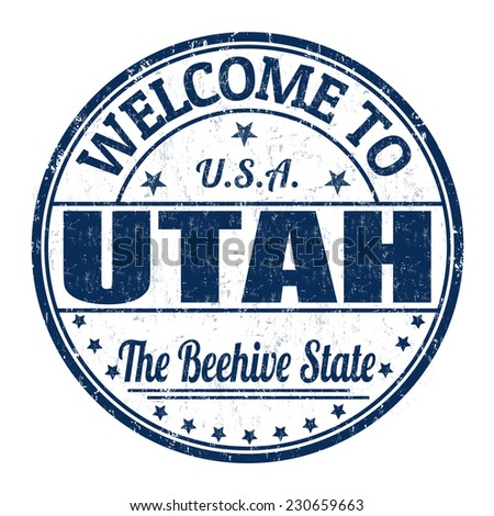 Welcome to Utah grunge rubber stamp on white background, vector illustration