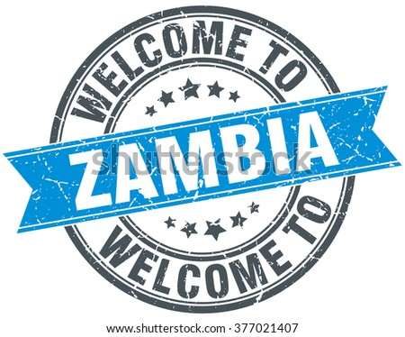 welcome to Zambia blue round vintage stamp