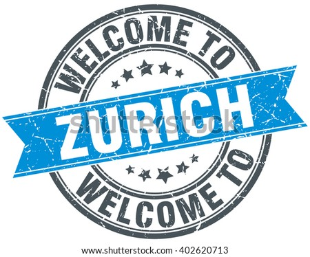 welcome to Zurich blue round vintage stamp