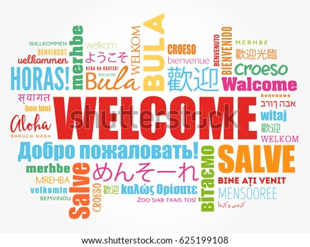 WELCOME Word Cloud In Different Languages Conceptual Background