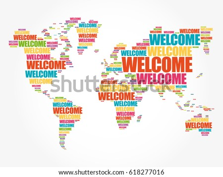 Welcome world map typography word cloud stock vector 618277016 welcome world map in typography word cloud business conceptual background gumiabroncs Images