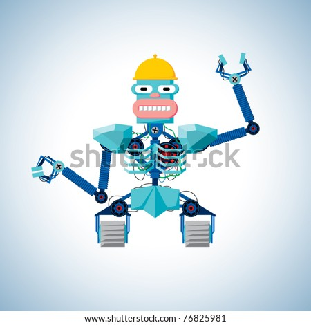 Welcoming robot with hard hat - stock vector