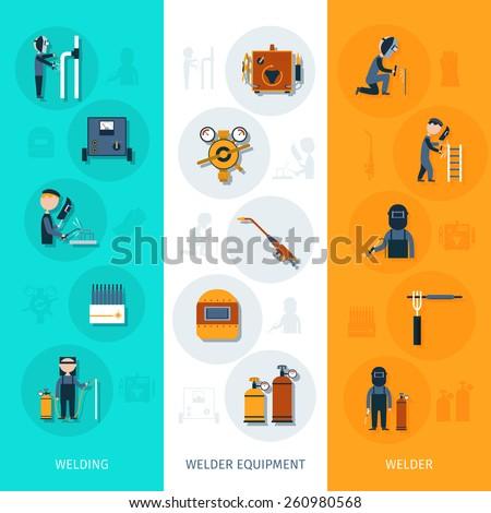 Welder banner vertical set with welding equipment elements isolated vector illustration - stock vector