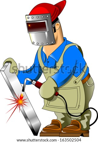 welder in protective coveralls and protective mask, vector - stock vector