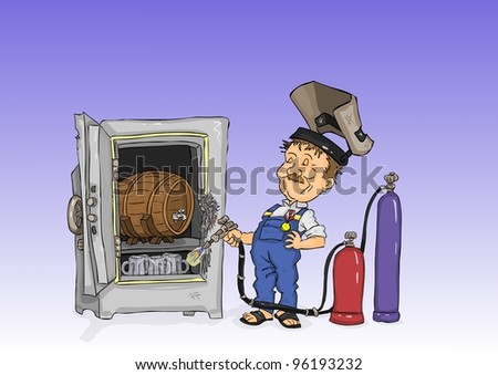 Welder opened the wallet, which is a beer - stock vector