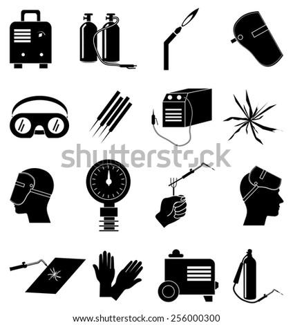 welding industrial icons set - stock vector