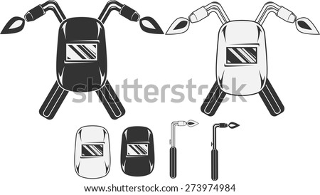 Welding mask with cutting torch - stock vector