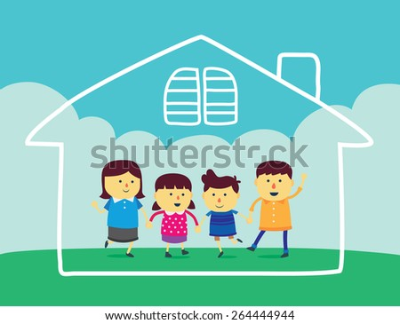 Well being family, Family is composed of father, mother, son and daughter on green field and have home linear in the air. - stock vector
