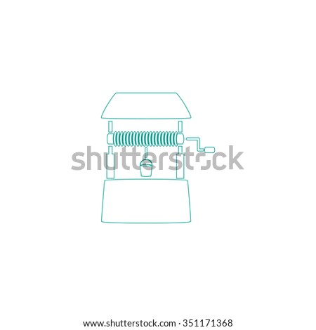 well Outline vector icon on white. Line symbol pictogram  - stock vector