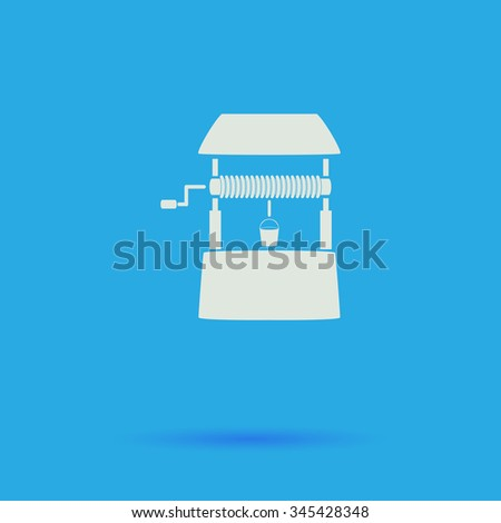 well White flat vector simple icon on blue background with shadow  - stock vector
