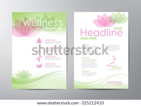 Wellness brochure template - for relaxation, healthcare, medical topics. - stock vector