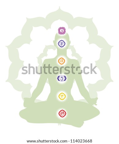 Wellness show a person meditating and their chakras, vector illustration - stock vector