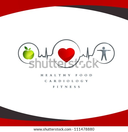 Wellness symbol. Healthy food and fitness leads to healthy heart and life. - stock vector