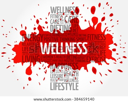 WELLNESS word cloud, health cross concept - stock vector