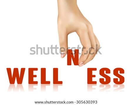 wellness word taken away by hand over white background