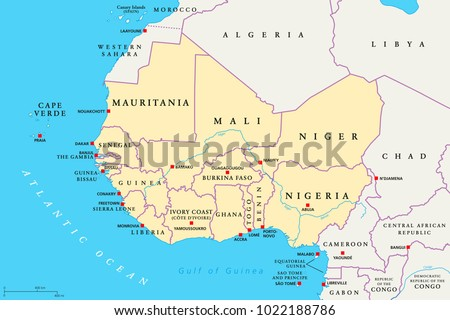 West Africa Region Political Map Area Stock Photo Photo Vector
