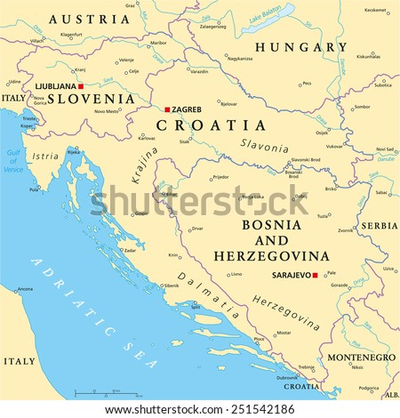 west balkan political map formed by slovenia croatia and bosnia and herzegovina with national