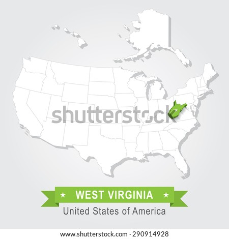 West Virginia state. USA administrative map. - stock vector