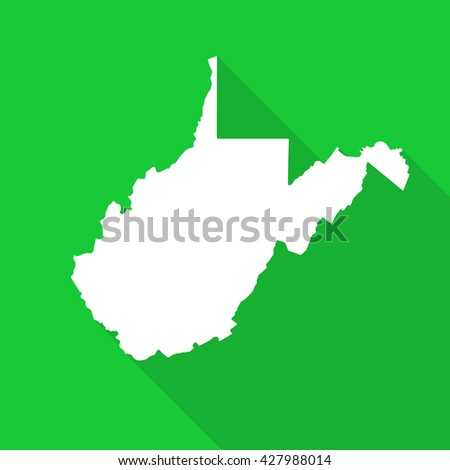 West Virginia white map,border flat simple style with long shadow on green background - stock vector