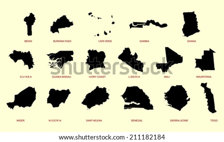 Western Africa vector map high detailed silhouette illustration isolated on white background. - stock vector