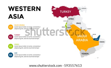 Western Asia Map Infographic Slide Presentation Stock Vector ...
