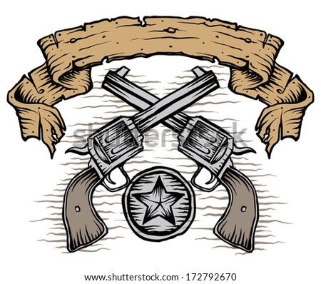 western guns with scroll and star - stock vector