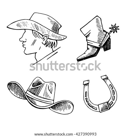 western hand draw sketch vector set western background cowboy boots hat